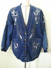 Vintage 80's denim cardigan jacket blue jean floral metallic embroid size S M L