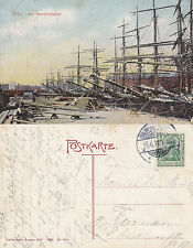 1911 SHIPS IN KIEL HARBOUR GERMANY COLOUR POSTCARD
