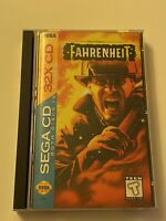 🔥FAHRENHEIT (Sega CD, 32X 1995) MIB - TESTED & WORKS 💯 COMPLETE GAME🔥