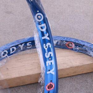 "PAIR OF ODYSSEY BMX HAZARD LITE 20"" RIMS ANODIZED BLUE"