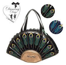 Dancing Days Peacock Feathers Womens 50s Vintage Retro Handbag Black Gold Blue