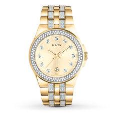 Bulova Men's 98B174 Crystal Accents Quartz Gold-Tone 42mm Bracelet Watch