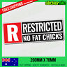 RESTRICTED NO FAT CHICKS Sticker Decal - FUNNY DRIFT JDM Racing Illest 4WD Joke