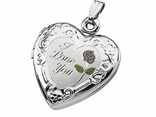 "Silver Heart Locket No Stone ""I Love You"" Tri Color Sterling"