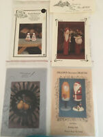 VINTAGE LOT OF 4 CHRISTMAS Tole Painting PATTERNS COUNTRY FOLK ART BUOY SANTA