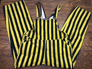 Navy Blue and Orange Game Bib Striped Cargo Pants