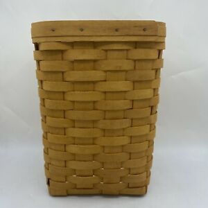 Longaberger 2000 Small Square Waste Basket Trash Can with Protector
