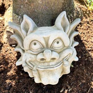 Stone Garden Statue Ornament Sculpture Gargoyle Devil Gremlin Wall Plaque Art B