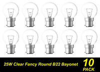 10 Pack 25W Clear Fancy Round Light Globes / Bulbs Bayonet Cap B22 Warm White
