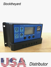 20A Solar Charge Controller PWM 12V 24V LCD Display Dual USB Solar Panel Charger