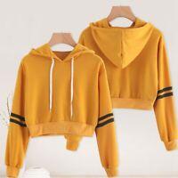 Ladies Long Sleeve Hooded Hoodie Sweatshirt Short Jumper Pullover Crop UK lskn