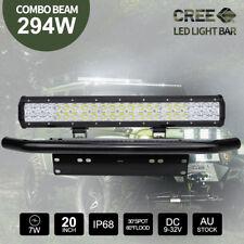 """20 inch 294W CREE LED Light Bar + 23"""" Black Number Plate Frame Mount Bracket 4X4"""