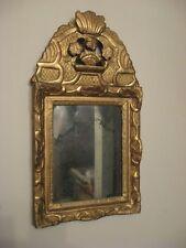 Petit Miroir à Fronton XVIIIe Louis XIV En Bois Sculpté Doré - Miroir au mercure