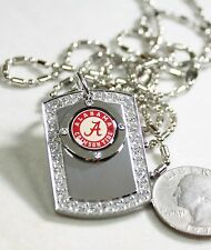 ALABAMA CRIMSON TIDE BLING ICED OUT  NECKLACE PENDANT CZ STAINLESS DOG TAG