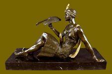 "~Joe Descomps~ , bronze art deco dancer statue ""Nymph"" Hot Cast Figurine Gilt NR"