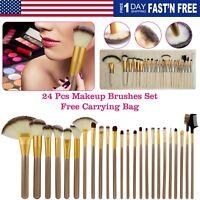 Pro 24PCS Makeup Brush Set Eyeshadow Powder Soft Cosmetic Brushes with Bag Case