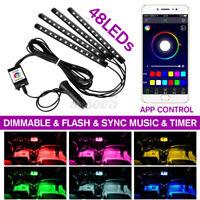 48 LEDs 5050 SMD Car LED Strip  bluetooth App Controller Interior  Q ¿ Z̶ π