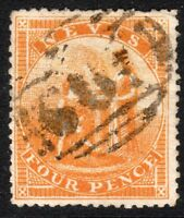 St Kitts-Nevis 1871 orange-yellow 4d perf 15 used SG18