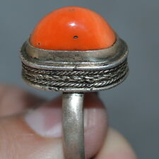 Museum NATURAL BIG RED CORAL Imperial Russian VTG RING STERLING SILVER 84 Salmon