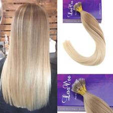 "LaaVoo 14"" Nano Ring Tip Human Hair Extensions Balayage Color Ash Blonde Fading"