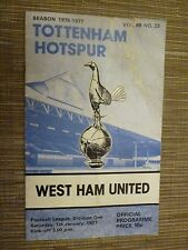 1976/77 Football Programme: TOTTENHAM HOTSPUR v WEST HAM UNITED - 1st January
