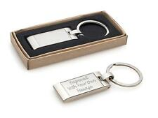 Personalised Satin Chrome Wave Design Keyring - Can Be Engraved