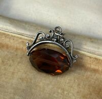 Vintage Swivel Fob Charm Sterling Silver Orange Glass Pendant Costume Jewellery