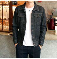 Korean Fashion Men's Slim Denim Jackets Coat Tops Washed Vintage Jean Coats