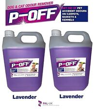 2 x5L P-OFF PET URINE SMELL ODOUR REMOVER - WEE FAECES POO CAT DOG - LAVENDER