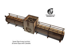 Sewer 4-way Junction & Sewer Pipes with Catwalks 40k necromunda 28mm terrain