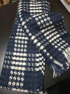 Next Brand New Winter Ladies Women Scarf Cream Dark Blue RRP £18