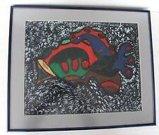 "Original Painting Fish Signed Tunji Idowu Folk Art 2001 Primitive 18x21"" Framed"