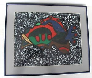 "Original Painting Fish Signed Tunji Idowu Folk Art 2001 Primitive 18x21"" Framed"