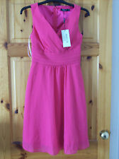 Dress V Neck Chiffon Cocktail Prom Party Evening Dress Hot Pink Size 6 New +Tags