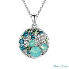 Women Elegant Fashion Silver green Round Crystals Pendant Necklace Party Jewelry