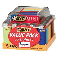 55 BIC Mini Sized Lighters Wholesale Lot  w/ Display Tray