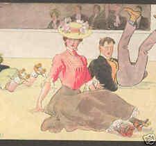 ROLLER SKATING MISHAP,1907 VICTORIAN CLOTHING POSTCARD