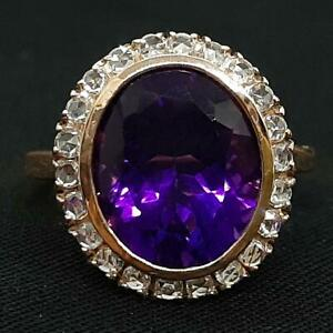 $2,999 Antique 9.60ctw Amethyst & Old Rose Cut Diamond Solid 9K Rose Gold Ring