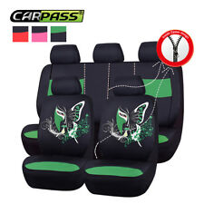Universal Auto Car Seat Covers Green Black 40/60 50/50 60/40 Airbag Compatible