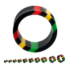 "PAIR-Rasta Acrylic Double Flare Ear Tunnels 16mm/5/8"" Gauge Body Jewelry"