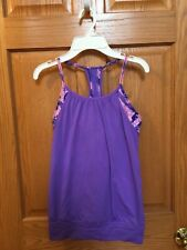 ivivva Girls 12 Built In Bra Tank Top Purple and Pink Euc