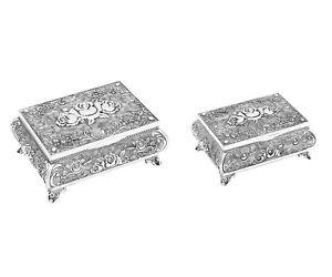 Schmuckschatulle versilbert mit Rosen Motiv Metall Schmuckkästchen Antik Silber
