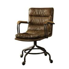 Acme Furniture Chair Swivel Office Top Grain Leather Metal Framed Armrest Brown