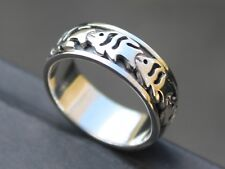 Womens Mens Solid Sterling silver fish Spinner ring 8mm band Gift for him or her