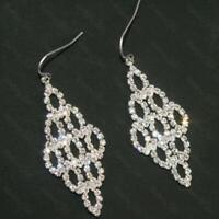 """2""""long 5cm big AUSTRIAN CRYSTAL diamante EARRINGS silver rhinestone prom bridal"""