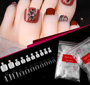 False Toe Nails Nail Art Full Coverage Tips Clear Natural UK 500 or 100