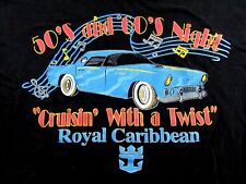 """Vtg. Royal Caribbean """"Cruising With A Twist"""" 50's & 60's Night T Shirt Size Xl"""