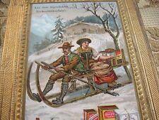 Litho Aus dem Alpenleben Bockschlittenfahrt Weihnachten Schlitten Alpen Oblate