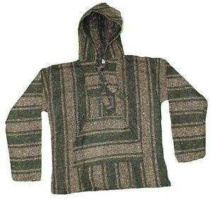 LARGE Mexican BAJA HOODIE - Green/Tan - Mexican PONCHO Sweater Surfer