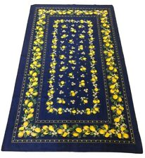 """Tovaglia Made In Italy Tablecloth 140x240cm 55x95"""" Lemons Blue Yellow Cotton"""